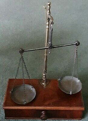 Antique Travelling Brass Apothecary Chemist Scales & Weights in Draw Box