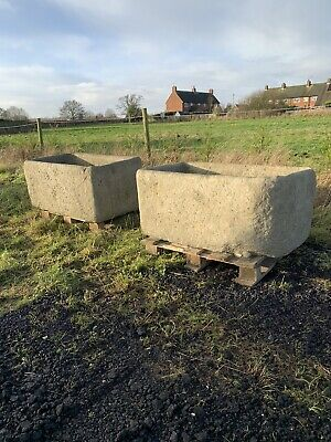 Pair Of Cast Stone Planter/troughs