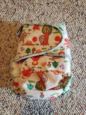 PNP Primm N Proper OS fitted cloth diaper bamboo insert, red riding hood wolf