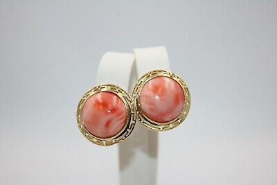 Large Coral Stone Earrings on 14K Yellow Gold