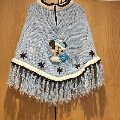 Disney Girls Size S (age 4-6) Minnie Mouse Blue Knitted Poncho Disneyland Paris