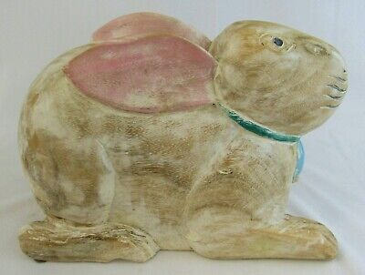 Whimsical Large Wooden Hand Carved/Painted Bunny Rabbit Decor Garden Art