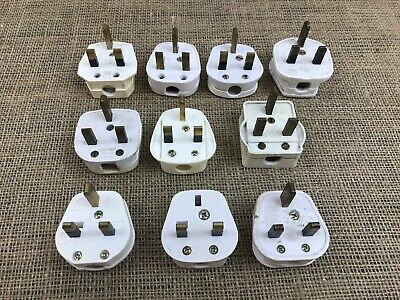 Job Lot Bundle 10 X 3 Pin Used Mains Plugs-Some Vintage