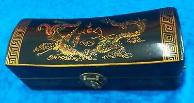 Chinese Vintage Lacquered Gilt Wood and Leather Pillow Box