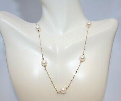 Five Pearl Necklace on 14K Yellow Gold