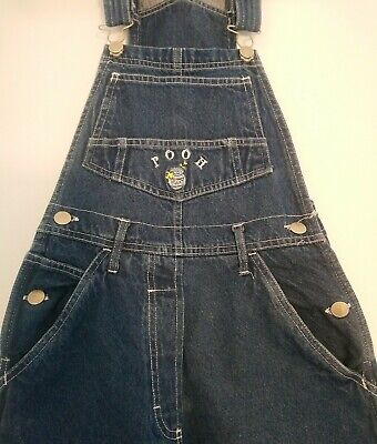 Ladies Vintage Disney Winnie The Pooh Blue Denim Dungarees Size Small S UK 6 8