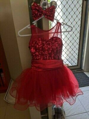 Girls Dance Costume with Bow & Wrist Band (Red, Sequins, Size XSC)