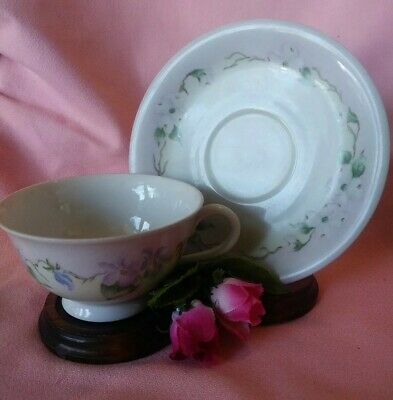 Vintage Bavaria Bareuther Handpainted Tea Cup & Saucer GERMANY Signed/Dated 1959
