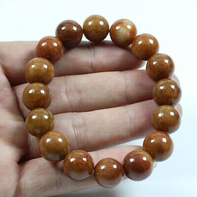 Certified Grade A Natural Brown Jadeite Jade 14mm Hand catenary Bracelets a1184