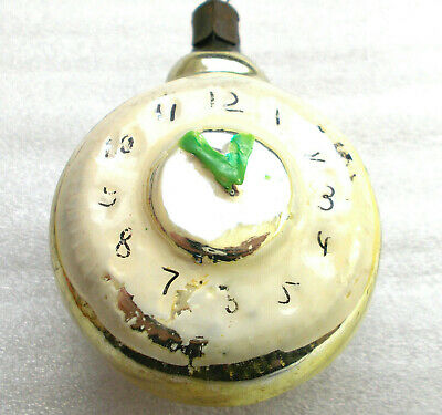 Antique Vintage USSR Russian Glass Christmas Ornament Tree Decoration Old Clock
