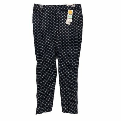 Charter Club Womens Skinny Slim Pants Blue Polka Dot Mid Rise Stretch 8 New