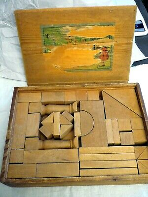 """Old pre-war Toy Wooden Construction Kit """"E. Reuter"""", Germany 3,2 kg very good"""