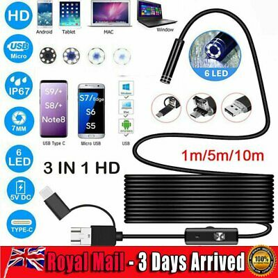 3in1 LED USB HD Endoscope Camera Type-C Inspection Borescope for Android PC UK