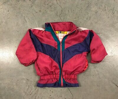 Vintage Toddler Girls Windbreaker 3T 90s Multi Color Pink Nylon Sport Baby
