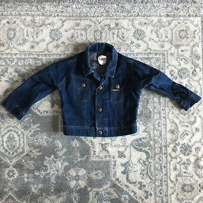 Vintage Lee Blue Denim Jean Jacket Toddler Boy Girl Size 2T Union Made in USA