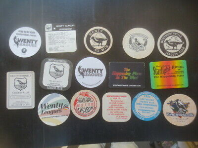 """15 different WENTWORTHVILLE Leagues Club """" MAGPIES """" collectable COASTERS."""