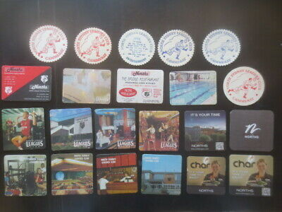 """22 different NORTH SYDNEY """" BEARS """" Leagues Club collectable COASTERS."""