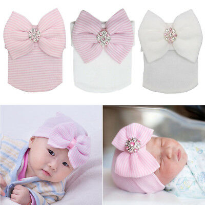 Newborn Baby Infant Girl Soft Comfy Knitted Big Bowknot Hospital Cap Beanie Hat