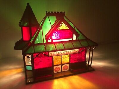 Coca-Cola Franklin Mint Stained Glass Train Station Lighted 1997 Village COA