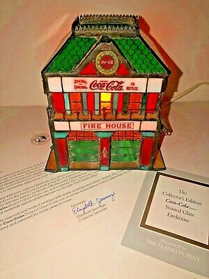 Coca-Cola Franklin Mint Stained Glass Firehouse Lighted 1998 Village COA