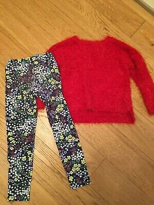 Girls Next red Jumper and coordinating Gap floral leggings outfit  - Age 6 years