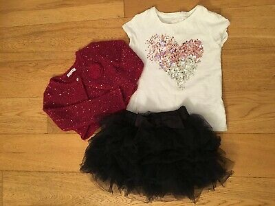 Girls Next & John Lewis t-shirt, tutu skirt and cardigan outfit, Age 4 -5 years