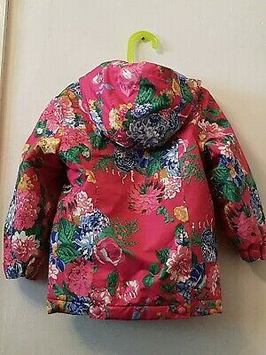 Girls Fleeced Lined Shower Proof Coat By Joules Aged 5 Years Pink Floral Design