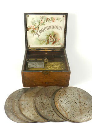 ANTIGUA CAJA DE MUSICA TROUBADOUR s. XIX ANTIQUE MUSICAL BOX SPIELUHR SPIELDOSE