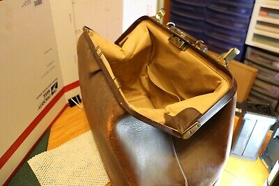 Antique Cowhide Leather Brass Hinge Medical Doctor Doctors Medicine Bag Case