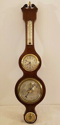 1950's CHELSEA Clock Co 'Carver' Victorian Style Wheel Wall Barometer with Clock