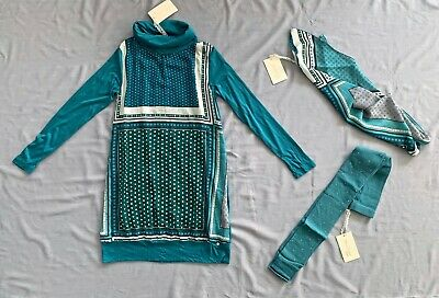 NWT Miss Grant Couture GIRLS SCARF DRESS FOOTLESS TIGHTS SET 12 -13 Y 158 SZ 42