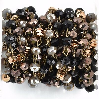 13ft Gray Crystal Rosary Chain, bronze, black, gold heishi beads, 8mm fch0820b
