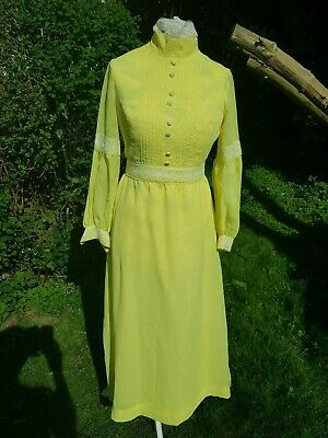 Genuine Vintage 70' S Evening/Bridesmaid Dress Pin-Tucked Front/ Lace Trim