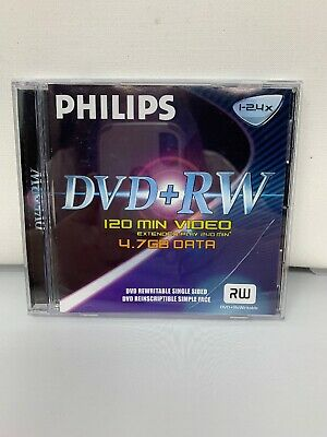 Philips DVD + RW 120 Minutes Video Extended Play 240 4.7GB Data Single Sided