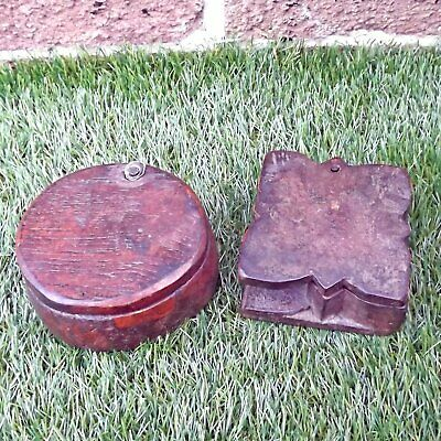 Pair Vintage / Antique Hand Carved Indian Tikka / Spice Boxes