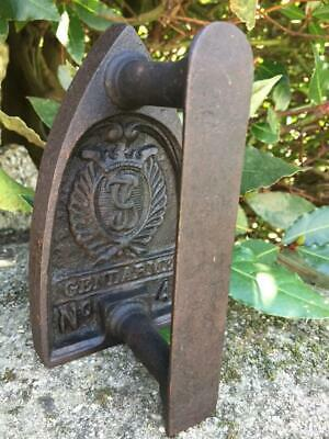 SUPER ANTIQUE FRENCH HEAVY FLAT IRON MARKED GENDARME No 4 FABULOUS DOOR STOP