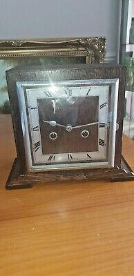 Vintage Art Deco Square Faced Wooden Mantle Clock /Great Britain