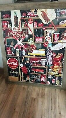 Giant Coca Cola Finished Jigsaw Puzzle Mounted Rustic Wood Framed 40 X 48  (1)