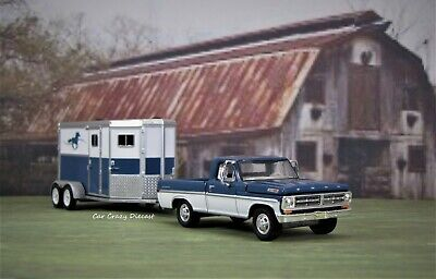 1972 Ford F-100 Pickup Truck + Horse Trailer 1/64 farm collectible diorama model
