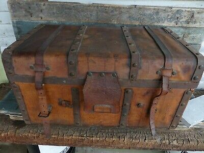 antique leather & wood carriage trunk box 1842 enosburg vt 19th c great patina