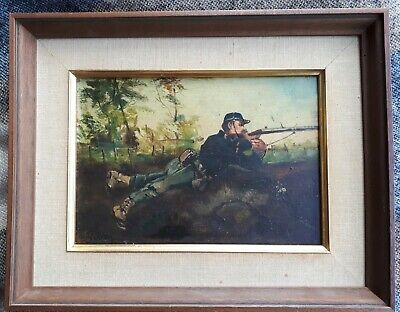 HIPPOLYTE LOUIS GIBON 19th CENTURY FRENCH ORIGINAL OIL PAINTING MILITARY SOLDIER