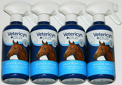 Lot of 4 Vetericyn Plus Wound & Skin Care 16oz Spray Bottles Treats All Animals