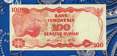 P - 122 ~ UNC from 1984; Crowned Pigeon; Dam INDONESIA 100 Rupiah