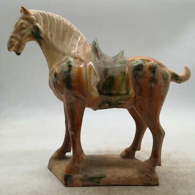 """8.7"""" Old Chinese Ceramics Tang Sancai Pottery Zodiac Year Fine Horse Statue唐三彩战马"""