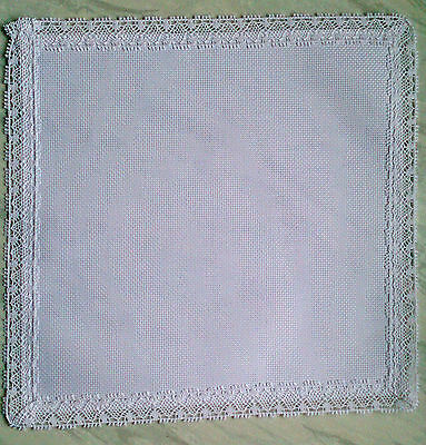 Oval Table Centre to Cross Stitch 14 count aida with a cotton lace edge