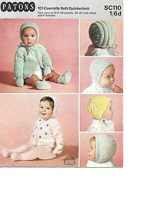 3780 Vintage Baby Knitting Pattern Bonnets and Hats DK 0-12 months approx