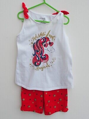 Gorgeous CYNTHIA ROWLEY Girls 2 Piece Outfit Unicorn Vest Top & Shorts age 7-8