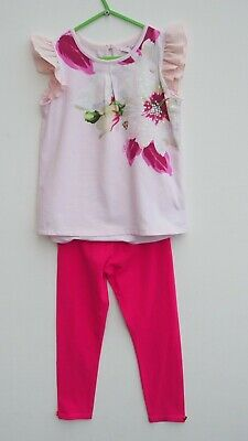 Stunning TED BAKER Girls 2 Piece Pink Floral Top and Leggings Set/Outfit age 5-6