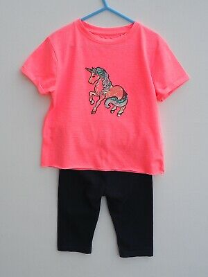 Gorgeous NEXT 2 Piece UNICORN Sequin T Shirt / Top and Cropped Leggings age 6 yr