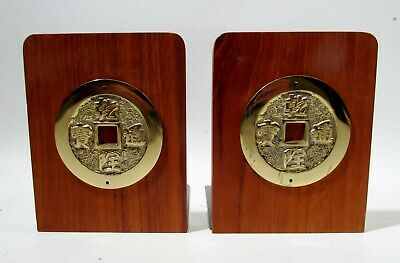 ollywood Regency Chinoiserie Chinese Coins Brass Teak Pair Bookends Midcentury